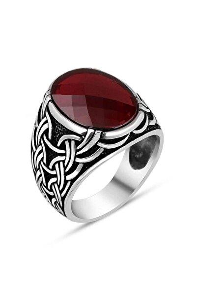 Anı Yüzük Zincir Motifli Faset Kesim Kırmızı Zirkon Taşlı Gümüş Erkek Yüzük