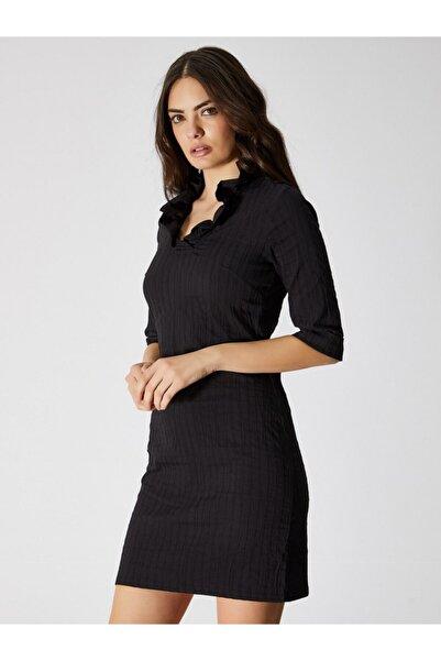 Vekem Kadın Siyah Jakarlı Yakası Fırfır Detaylı Mini Elbise 9109-0069