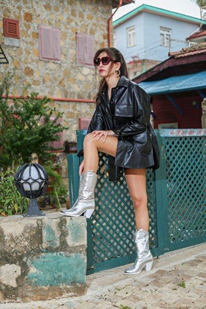 ELİT SHOES Kadın Gümüş Renk Topuklu Çizme