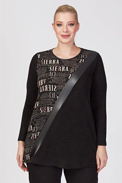 Femina Kadın Siyah Büyük Beden Deri Ve Yazı Detaylı Triko Tunik Bluz