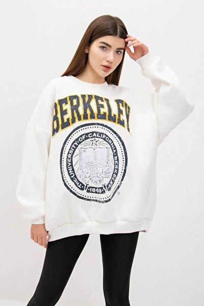 Mossta Kadın Beyaz Kalın Şardonlu Salaş Sweatshirt