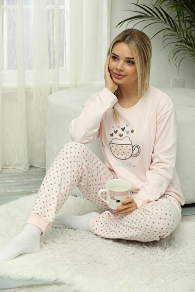 Mossta Kadın Pudra Pembe Puantiyeli Termal Pijama Takımı