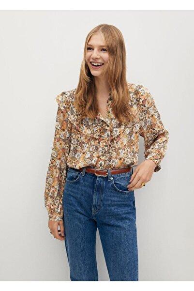 MANGO Woman Kadın Ekru Desenli Bluz