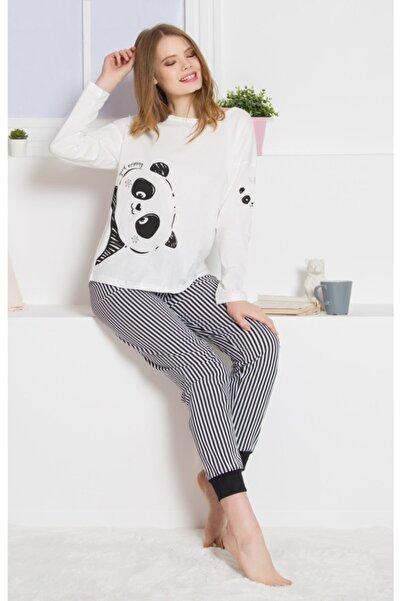 Ars Kadın Krem Renk Desenli Uzun Kol Pijama Takımı