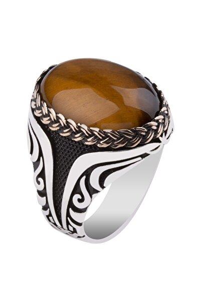 Anı Yüzük Hasır Düğüm Motifli Kahverengi Kaplangözü Taşlı Gümüş Erkek Yüzük