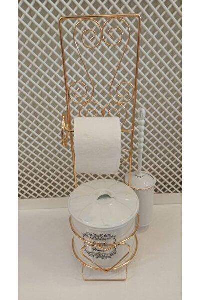 Zarif Home Gold Telli Beyaz Wc Seti Fırçalı