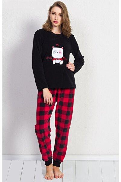 Ars Kadın Siyah Renk Desenli Uzun Kol Polar Pijama Takımı