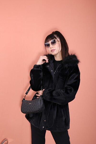 Ekol Kadın Siyah Tüylü Fermuarlı Ceket