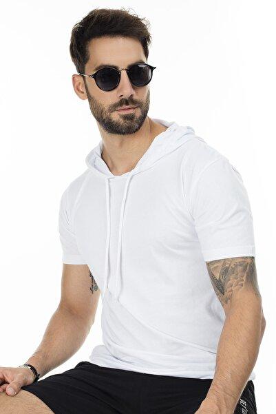 Buratti Erkek Beyaz Kapüşonlu Pamuklu Slim Fit Basic T Shirt 5412021
