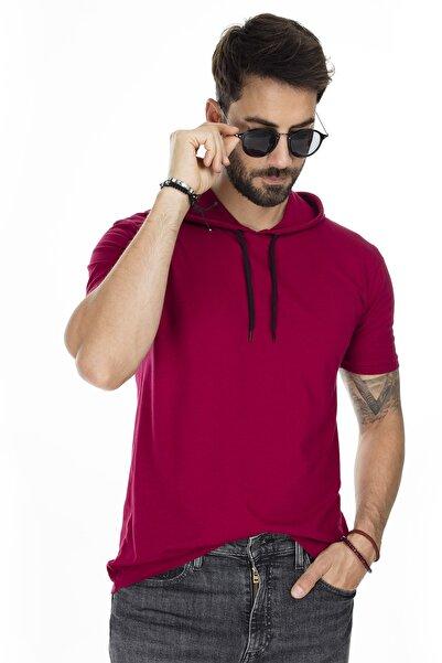 Buratti Erkek Bordo Kapüşonlu Pamuklu Slim Fit Basic T Shirt 5412021