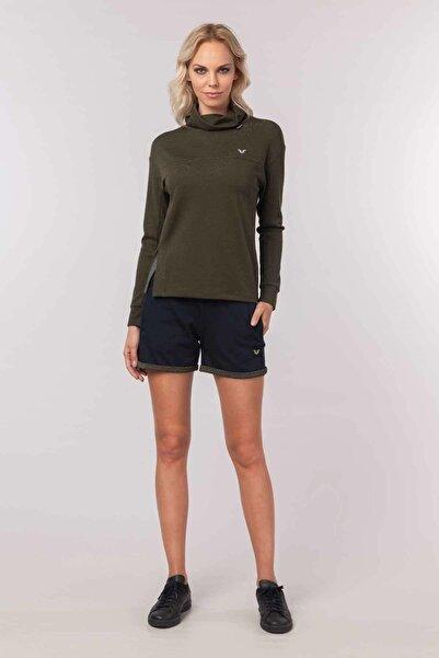 bilcee Yeşil Simli Kadın Sweatshirt  EW-3031