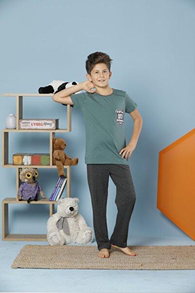 Erkek Çocuk Yeşil Kısa Kollu Pamuklu Likralı Pijama Takım