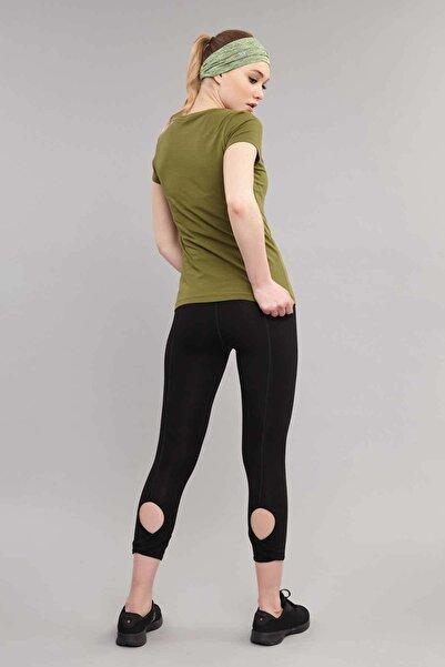 Yeşil Likralı Pamuklu Kadın T-Shirt ES-3614