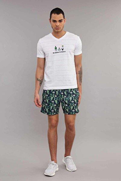 Beyaz Pamuklu Erkek T-Shirt ES-4006
