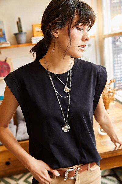 Olalook Kadın Siyah Koltuk Altı Parçalı Yarasa T-shirt TSH-19000330