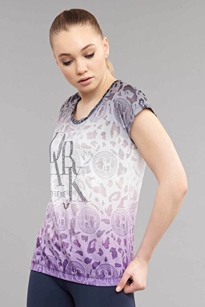 Mor Pamuk/Poly Kadın T-Shirt ES-4222