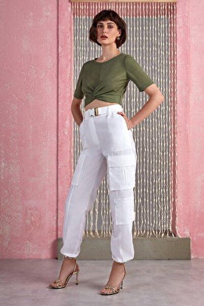 Kadın Ekru Paçası Büzgülü Kargo Pantolon N20Y-3216-0014