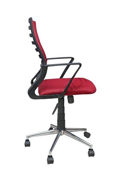 Porziyon Suel Çelik Krom Ayaklı Sırtı Yaylanır Çalışma Sandalyesi Ofis Koltuğu Kırmızı