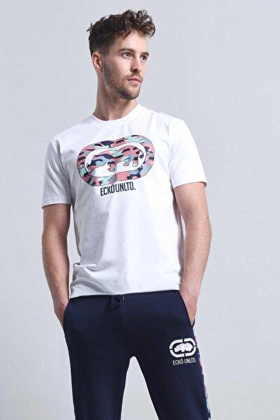 Beyaz Erkek Baskılı Bisiklet Yaka T-Shirt PINK CAMO