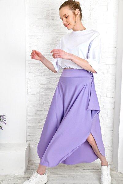 Trend Alaçatı Stili Kadın Lila Asimetrik Kesim Etek Alc-5402