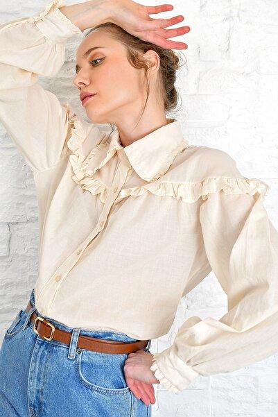 Kadın Bej Fırfır Detaylı Dokuma Gömlek Alc-X4175