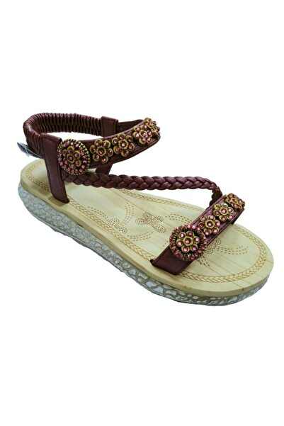 Guja Bordo Kadın Sandalet Slikon Taban 209-3