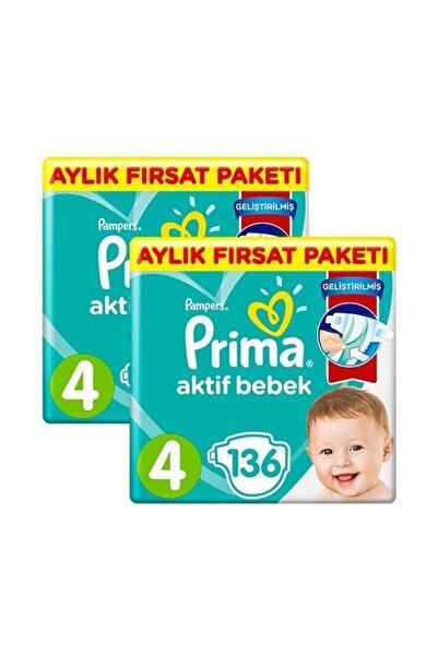 Prima Pampers Bebek Bezi Aktif Bebek Aylık 4 No 136 Lı X 2 Adet
