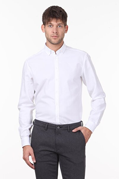 Kip Erkek Beyaz Düz Dokuma Uzun Kollu Gömlek KP10118289