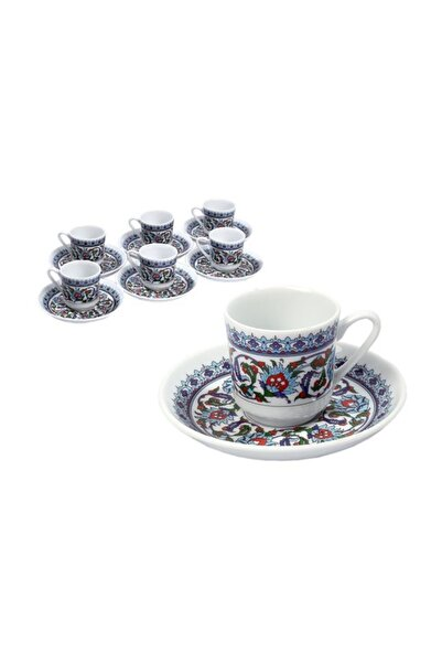 Güral Porselen Gozde Kahve Fincanı Tabaklı 12 Parça 6 Kişilik Çantalı Topkapı 932
