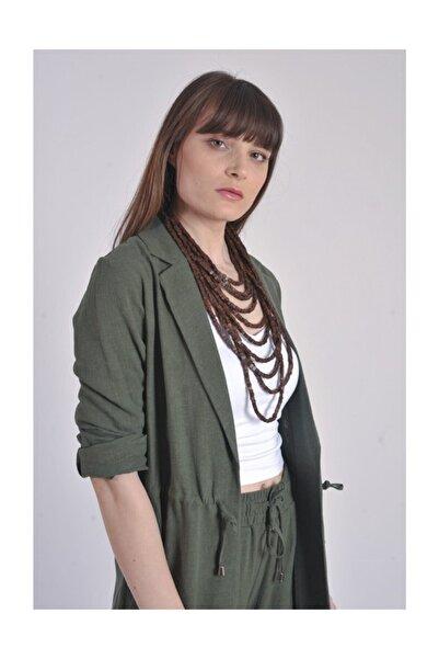 STAMINA Kadın Keten Ceket Belden Bagcıklı 4kt02