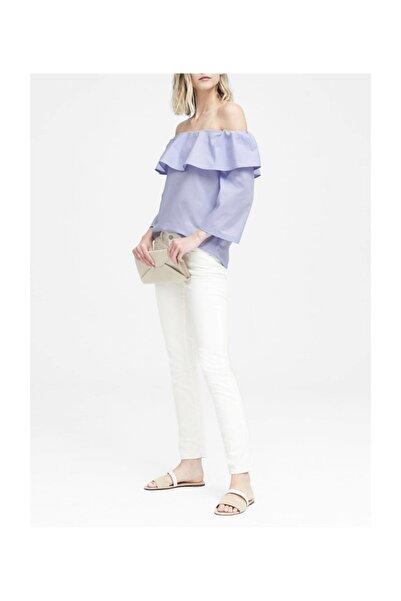 Banana Republic Kadın Mavi Düşük Omuzlu Streç Bluz 328452