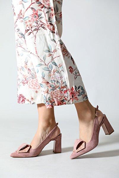 Kadın Pembe Arka Açık Tokalı Aynalı Ökçe Sivri Zenne Topuklu Ayakkabı