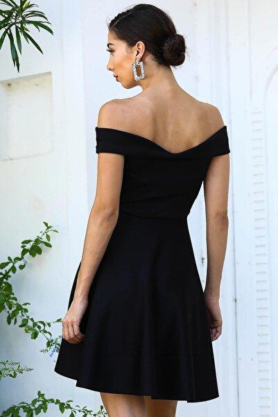 Kayık Yaka Siyah Kadın Kısa Elbise ELB0307D0349