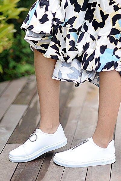 Pembe Potin Kadın Beyaz Casual Ayakkabı