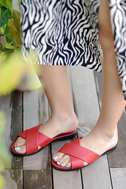 Pembe Potin Kırmızı Kadın Sandalet