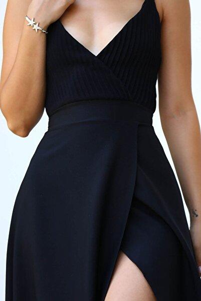 Pileli Siyah Kadın Abiye ELB0307D8029