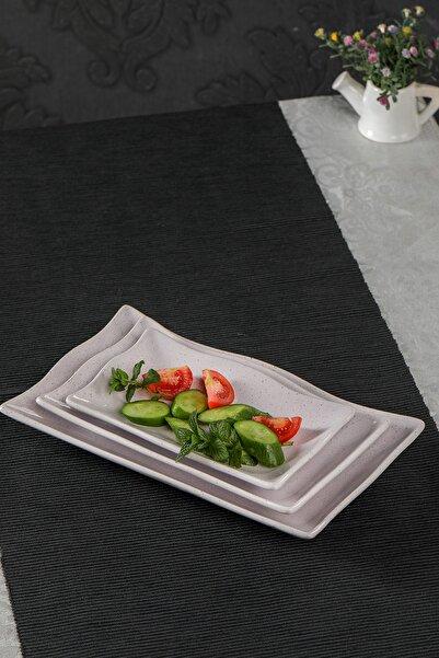 MHK Collection Granit Desen 3 Parça Kayık Sunum Tabağı - Gri