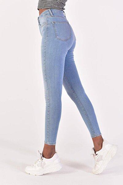 Kadın Açık Kot Rengi Yüksek Bel Jean Pantolon Pn6695 Adx-0000022071