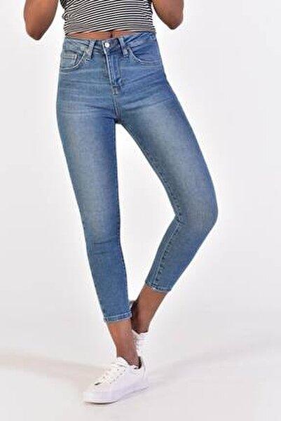 Kadın Açık Kot Rengi Yüksek Bel Jean Pantolon Pn6651 Adx-0000021948