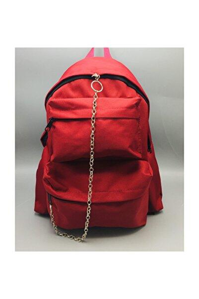 Köstebek Kırmızı Renk Çift Cepli Zincirli Yeni Okul Sırt Çantası