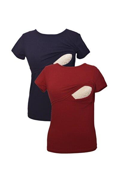 Hamile Bordo&Lacivert T-Shirt