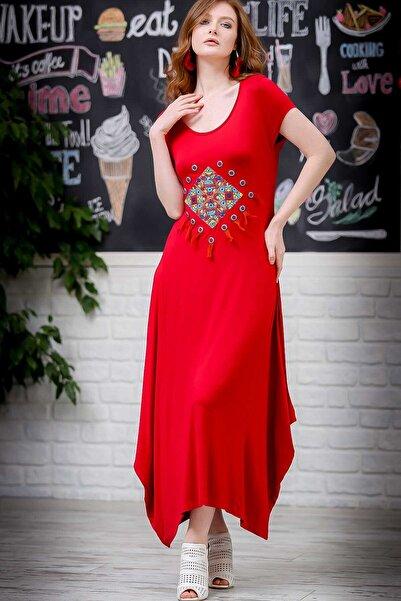Chiccy Kadın Kırmızı Bohem Dev Tribal Püsküllü Nakışlı Asimetrik Salaş Elbise  M10160000EL97292