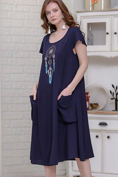 Kadın Lacivert Dream Catcher Nakışlı Dev Cepli Salaş Dokuma Bohem Elbise  M10160000EL97302