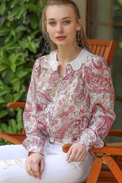Kadın Pembe Vintage Fisto Dilimli Yaka Şal Desenli Gömlek M10010400Gm99551