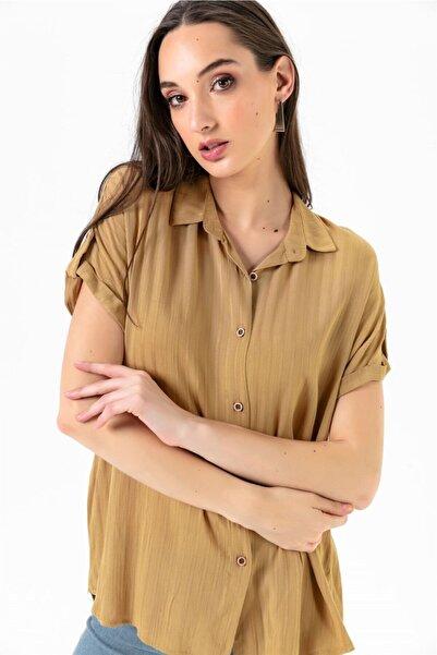 Kadın Düşük Kol Jakarlı Gömlek Kahve