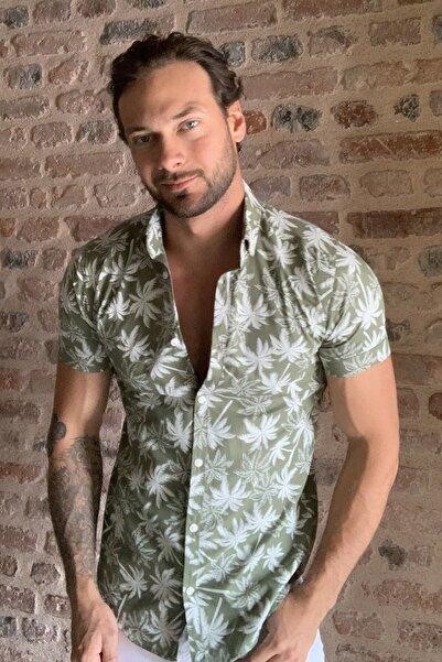 Haki Erkek Palmiye Baskılı Düğmeli Yaka Kısa Kollu Slim Fit  Gömlek TMNSS20GO0254