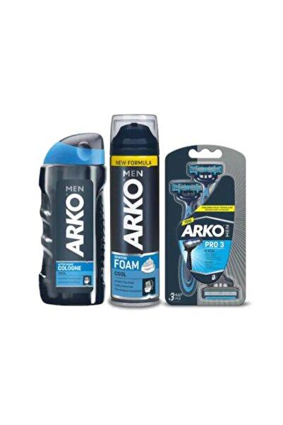 ARKO Men Traş Seti Cool Traş Köpüğü + Kolonya + Pro3 Bıçak 4 Set 6242005412219