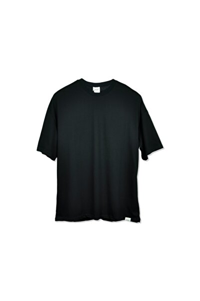 Unisex Siyah Uzun Boy Oversıze T-shırt