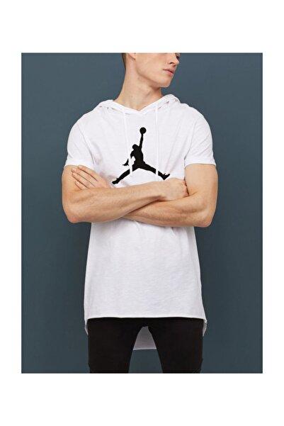 Ghetto Nba Jordan Air Logo Kollu Kapşonlu Unisex T-shirt