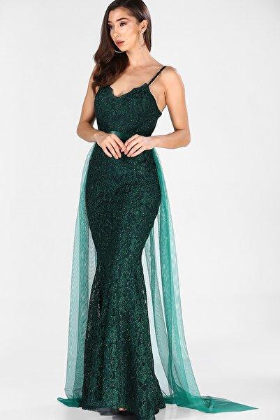 Dantelli Yeşil Kadın Balık Model Abiye